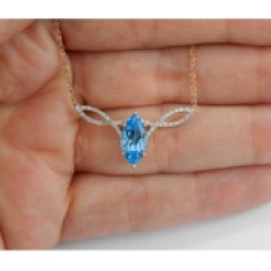 "Diamond and Blue Topaz Necklace Pendant 17"" Rose Gold Chain Wedding Gift"