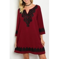 Burgundy/black Lace Dress