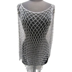 Glamorous Long Beaded Poncho-White/Silver found on MODAPINS from Shoptiques for USD $55.00