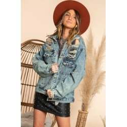 Women Ripped Jean Jacket Boyfriend Long Sleeve Coat found on Bargain Bro Philippines from Shoptiques for $72.00