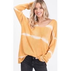 Tie Dye Tunic Length V Neck Sweater