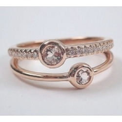 14K Rose Gold Morganite and Diamond Stackable Anniversary Ring Multi Row Wedding Band Modern Jewelry