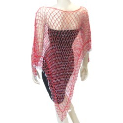 Glamorous Long Beaded Poncho-Red/Silver found on MODAPINS from Shoptiques for USD $55.00