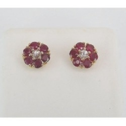 Ruby and White Sapphire Stud Earrings Flower Wedding Studs Yellow Gold July Birthstone