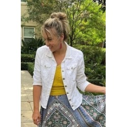 Denim White Jacket with Embroidery found on MODAPINS from Shoptiques for USD $62.00