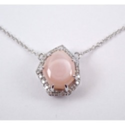 """White Gold Pink Mother of Pearl and Diamond Halo Pendant Necklace 18"""" Chain"""