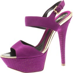 Baldinini Purple Suede Open Toe Ankle Strap Platform Sandals Size 36 found on MODAPINS from The Luxury Closet for USD $171.03