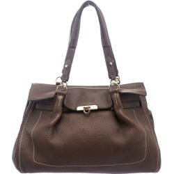 Salvatore Ferragamo Brown Leather Satchel found on MODAPINS from The Luxury Closet for USD $2695.00