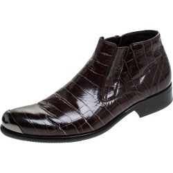 Baldinini Brown Crocodile Embossed Leather Ankle Boots Size 39 found on MODAPINS from The Luxury Closet for USD $174.62