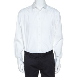 Armani Collezioni White Cotton Blend Button Front Shirt XXL found on MODAPINS from The Luxury Closet for USD $141.77