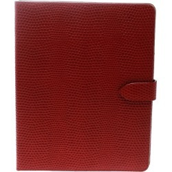 Smythson Red Lizard Embossed Leather iPad Cover