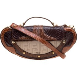Fendi Brown Python and Croc Mirrored Vanity Shoulder Bag found on Bargain Bro India from The Luxury Closet for $1367.00