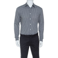 Z Zegna Monochrome Cotton Patterned Jacquard Slim Fit Shirt M found on MODAPINS from The Luxury Closet for USD $220.23