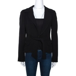 Max Mara Black Wool Crepe Front Tie Detail Blazer M found on Bargain Bro India from The Luxury Closet for $309.16
