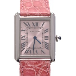 Cartier Pink Stainless Steel and Leather Tank Solo Women's Wristwatch 23x31MM