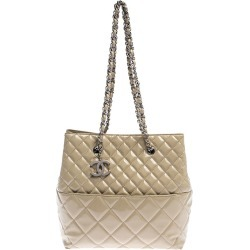 Chanel Beige Quilted Patent Leather In the Business North/South Bag