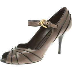 Louis Vuitton Grey Leather Mary Jane Peep Toe Pumps Size 38 found on Bargain Bro India from The Luxury Closet for $346.00
