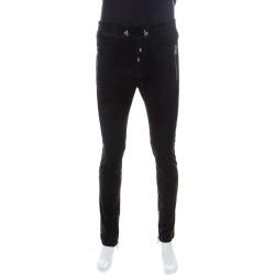 Balmain Black Lambskin Leather Ribbed Panel Detail Moto Pants L