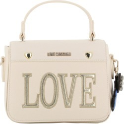Love Moschino White Faux Leather Love Applique Crossbody Bag