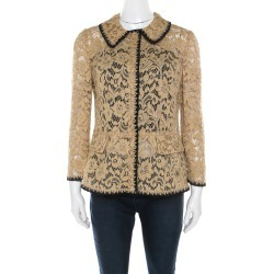 Dolce and Gabbana Beige Floral Lace Peplum Blazer M