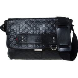 Gucci Black Guccissima Leather Medium Rubber Messenger Bag found on MODAPINS from The Luxury Closet for USD $1545.00