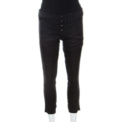 Barbara Bui Black Denim and Silk Paneled Asymmetric Hem Pants S found on MODAPINS from The Luxury Closet for USD $217.67