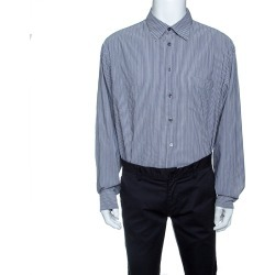 Armani Collezioni Grey Striped Long Sleeve Button Front Shirt XXL found on MODAPINS from The Luxury Closet for USD $345.00