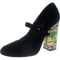 Dolce and Gabbana Black Velvet Embellished Heel Mary Jane Pumps Size 39 found on Bargain Bro Philippines from The Luxury Closet for $1185.00