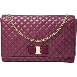 Salvatore Ferragamo Burgundy Micro Quilted Vara Chain Shoulder Bag found on Bargain Bro India from The Luxury Closet for $1345.00