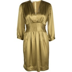 Stella McCartney Dull Gold Satin Pleated Long Sleeve Dress S found on Bargain Bro India from The Luxury Closet for $165.00