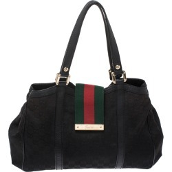 Gucci Black GG Canvas Small New Ladies Web Tote found on MODAPINS from The Luxury Closet for USD $1345.00