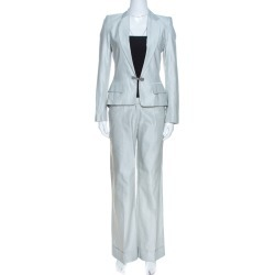 Barbara Bui Pale Grey Linen Blend Pant Suit S found on MODAPINS from The Luxury Closet for USD $1445.00
