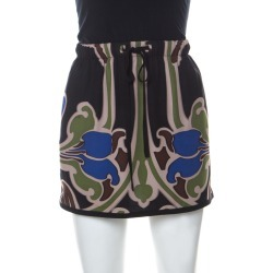 Gucci Multicolor Printed Silk Drawstring Detail Short Skirt S found on MODAPINS from The Luxury Closet for USD $1245.00