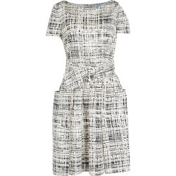 Prada Monochrome Printed Silk Short Sleeve Pocket Detail Belted Dress M found on Bargain Bro India from The Luxury Closet for $1290.00