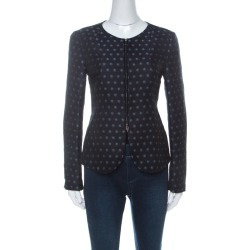 Armani Collezioni Navy Blue Spot-Jacquard Silk Blend Zip Front Jacket M found on MODAPINS from The Luxury Closet for USD $1182.00
