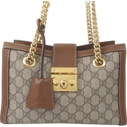 Gucci Brown GG Supreme Canvas Small Padlock Tote Bag found on MODAPINS from The Luxury Closet for USD $1290.56