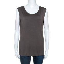 Armani Collezioni Grey Stretch Knit Sleeveless Top L found on MODAPINS from The Luxury Closet for USD $137.28