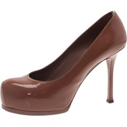 Saint Laurent Paris Brown Patent Tribtoo Platform Pumps Size 37 found on Bargain Bro India from The Luxury Closet for $128.00