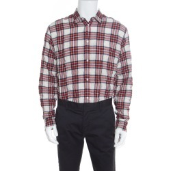 Dsquared2 Red Plaid Check Cotton Herringbone Weave Relaxed Dan Shirt L