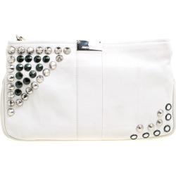 Jimmy Choo Off White Leather Studded Zulu Clutch found on Bargain Bro Philippines from The Luxury Closet for $1335.00