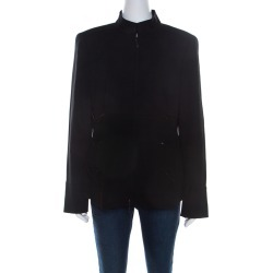 Escada Black Wool Crepe Chain Detail Stand Collar Jacket L