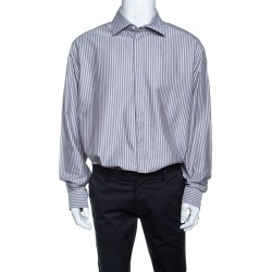 Armani Collezioni Grey Striped Cotton Long Sleeve Button Front Shirt 4XL found on MODAPINS from The Luxury Closet for USD $345.00