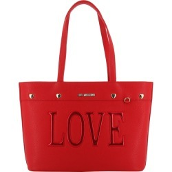 Love Moschino Red Faux Leather Love Applique Tote