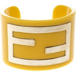 Fendi Yellow Resin Gold Tone Wide Open Cuff Bracelet found on Bargain Bro India from The Luxury Closet for $203.00