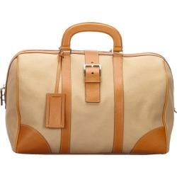 Prada Brown Leather And Canvas Boston Bag