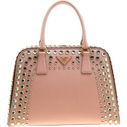 Prada Blush Pink/Burgundy Saffiano Lux Leather Pyramid Frame Top Handle Bag found on Bargain Bro Philippines from The Luxury Closet for $1557.00