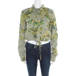 See by Chloe Khaki Green Abstract Butterfly Print Cropped Military Shirt M