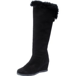 Baldinini Black Suede Wedge Knee Length Boots Size 38.5 found on MODAPINS from The Luxury Closet for USD $1581.00
