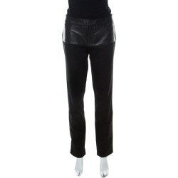 Gucci Black Cotton Fitted Leather Trim Skinny Pants M