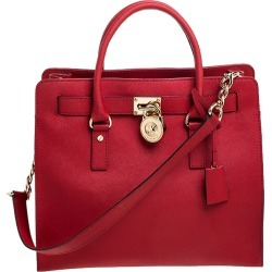 MICHAEL Michael Kors Red Saffiano Leather Large Hamilton North South Tote